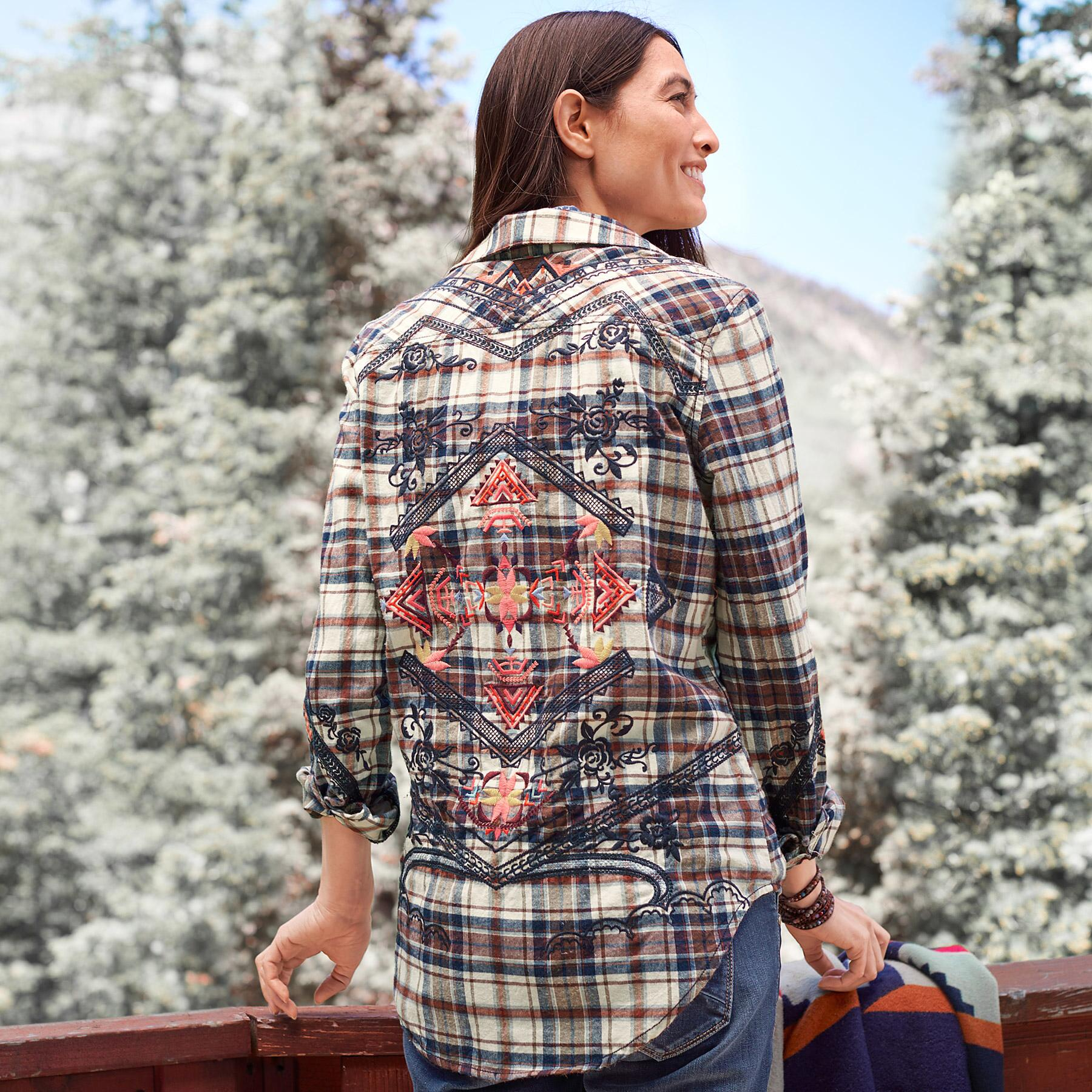 PLAID SHIRT WITH EMBROIDERY: View 1