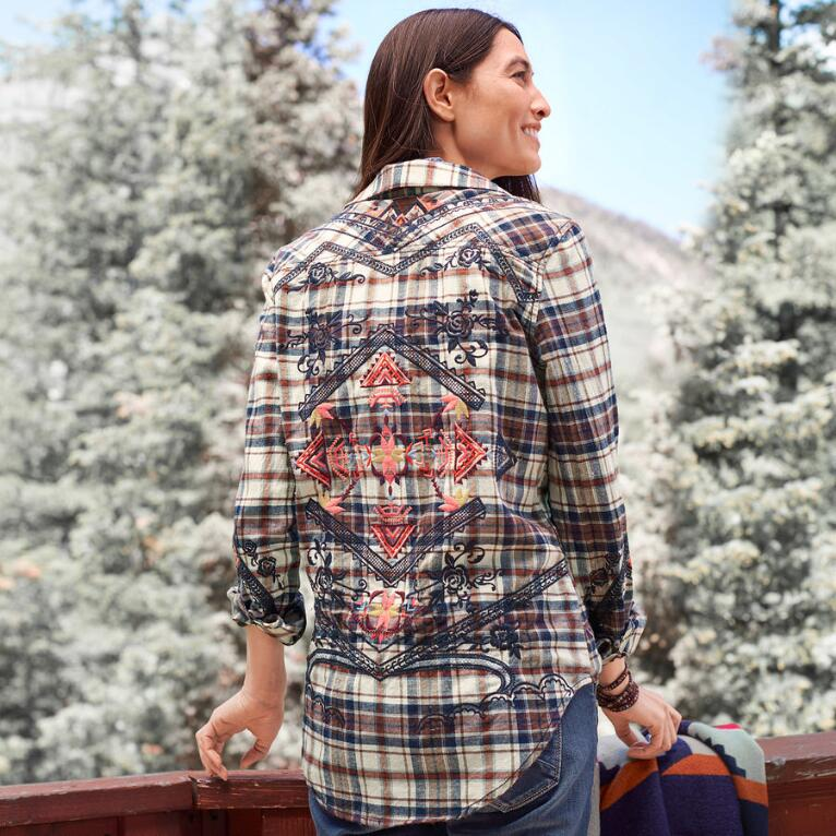PLAID SHIRT WITH EMBROIDERY