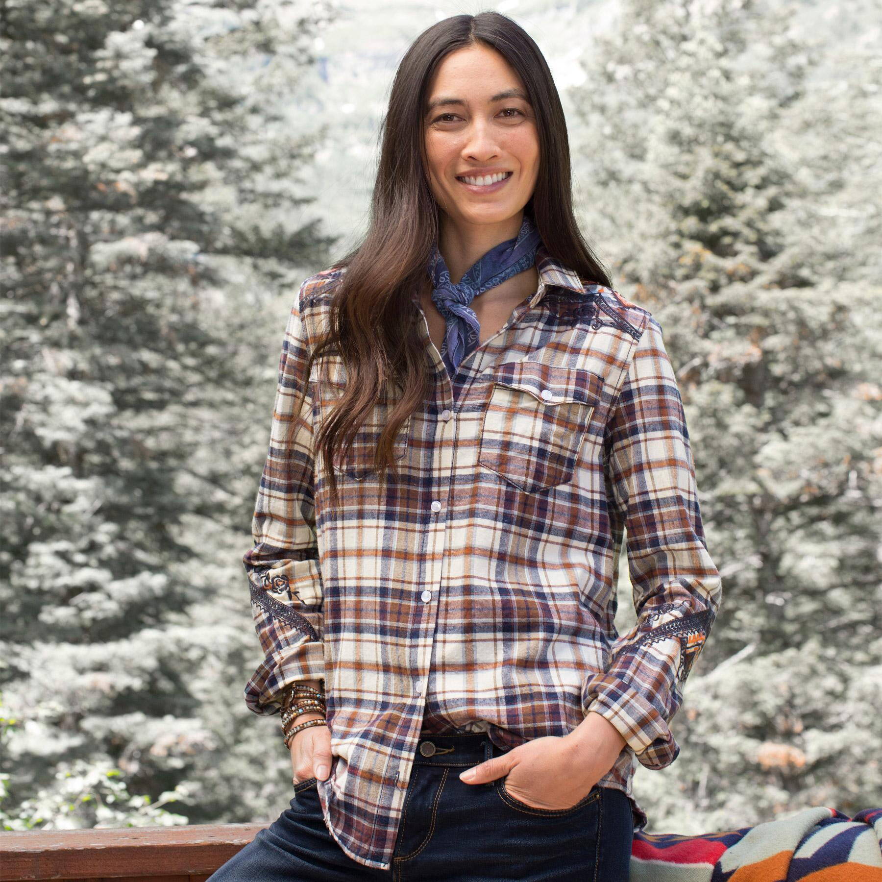 PLAID SHIRT WITH EMBROIDERY: View 2