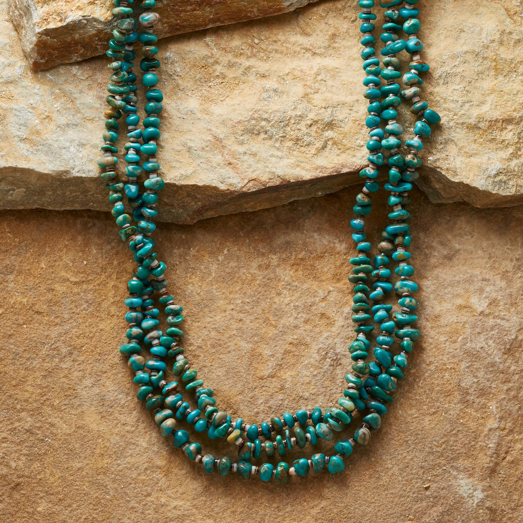 THREE-STRAND TURQUOISE NECKLACE: View 1