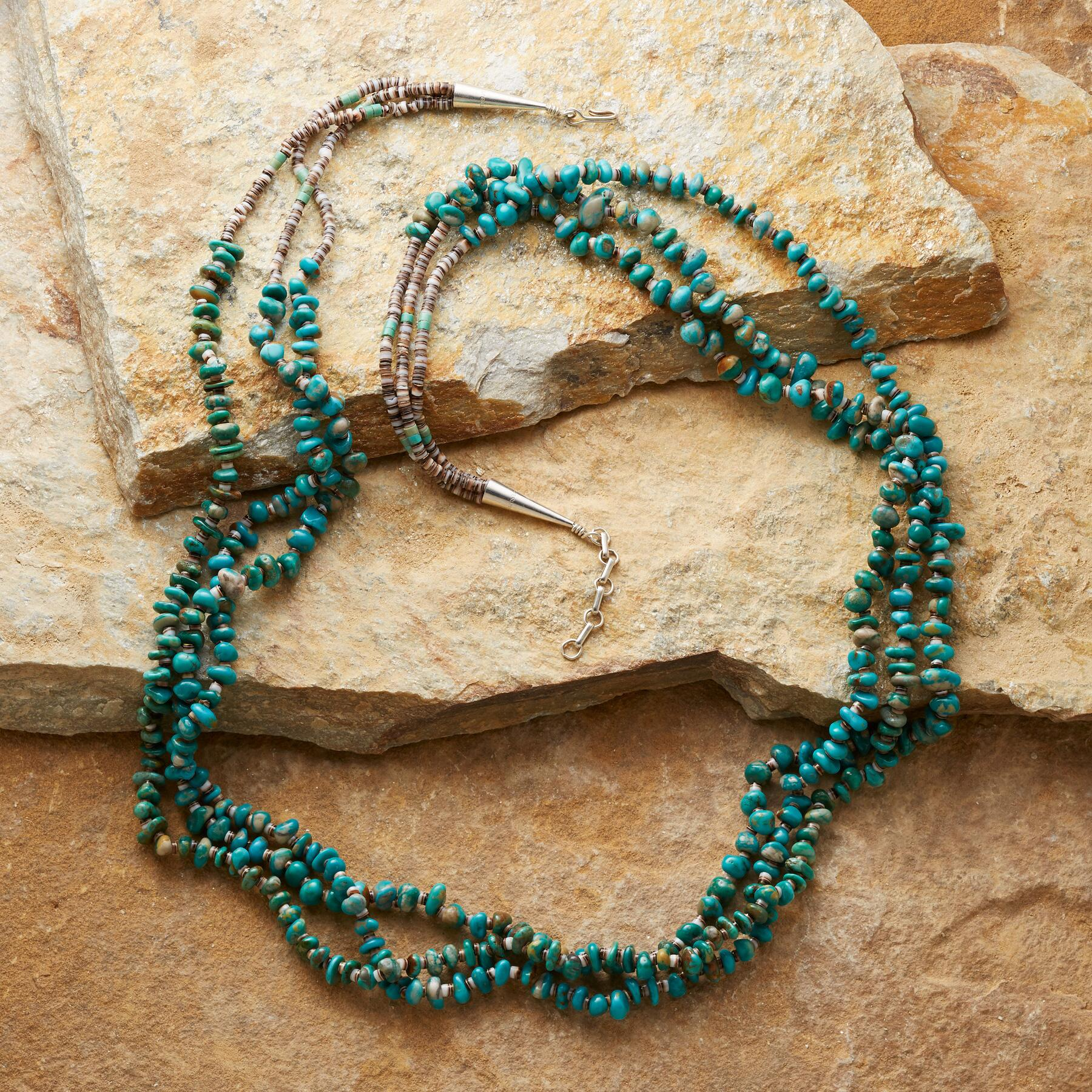 THREE-STRAND TURQUOISE NECKLACE: View 2