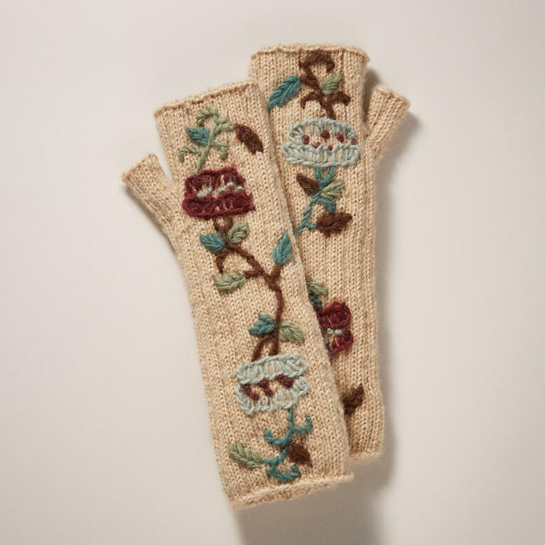 PEONY EMBROIDERED FINGERLESS GLOVES