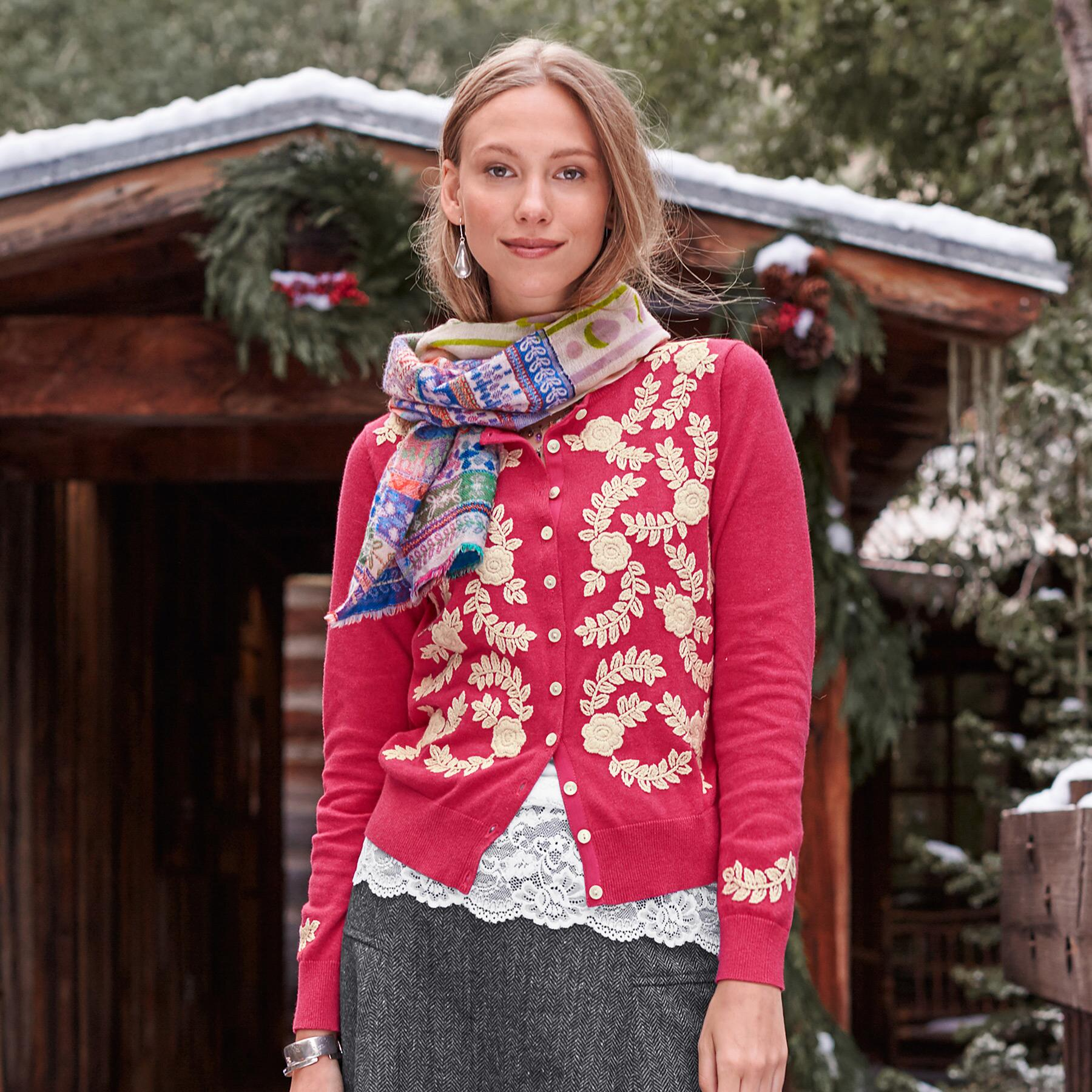 MEADOW CREWELWORK CARDIGAN: View 1
