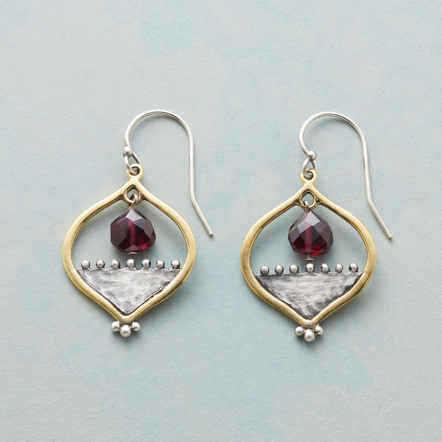 GARNET RISING EARRINGS: View 1