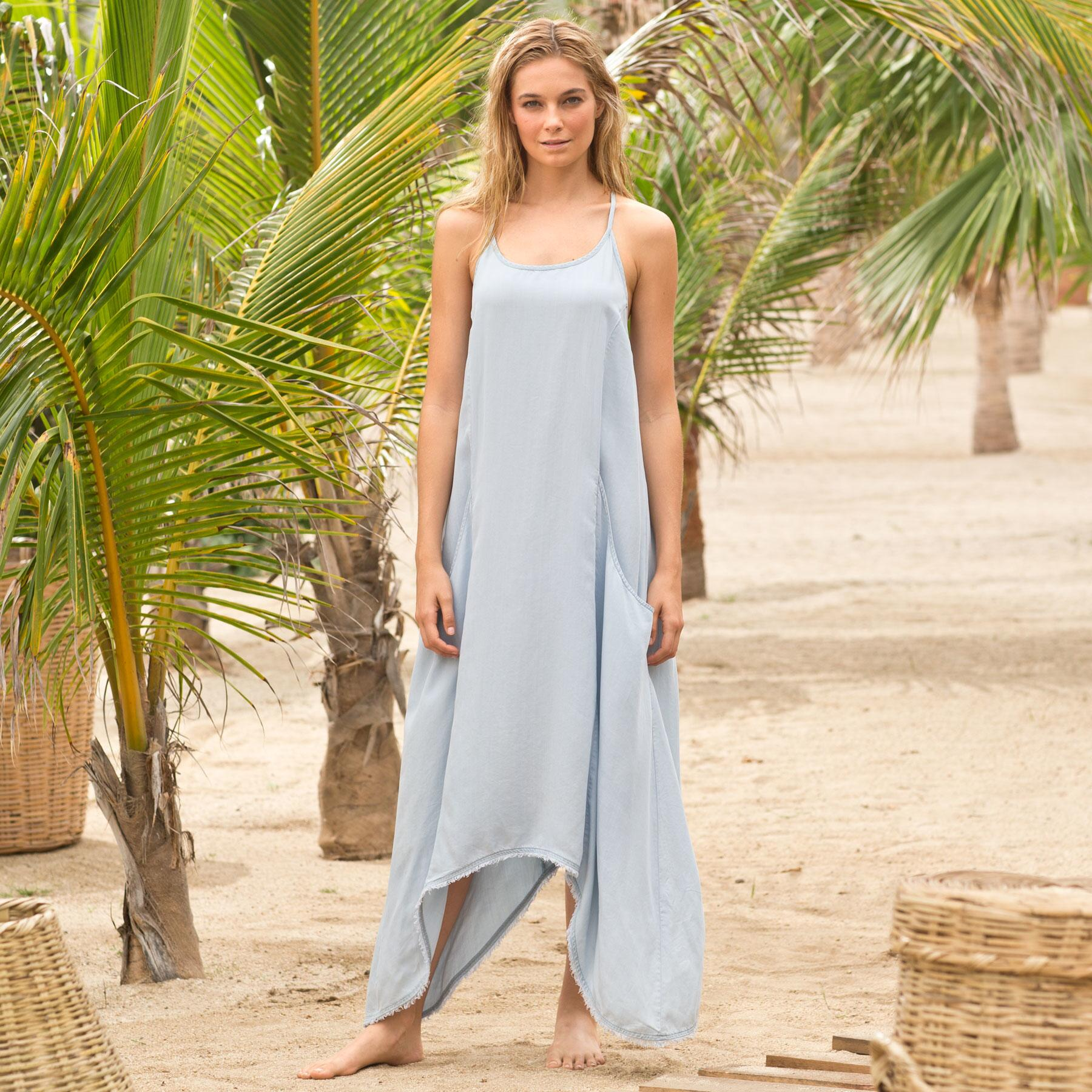 DRAPE POCKET CHAMBRAY DRESS: View 1