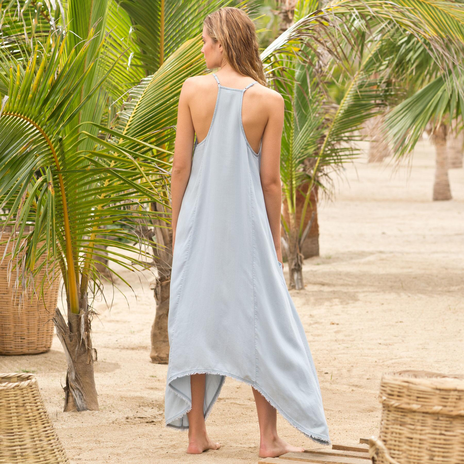 DRAPE POCKET CHAMBRAY DRESS: View 2
