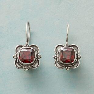 GARNET CARTOUCHE EARRINGS