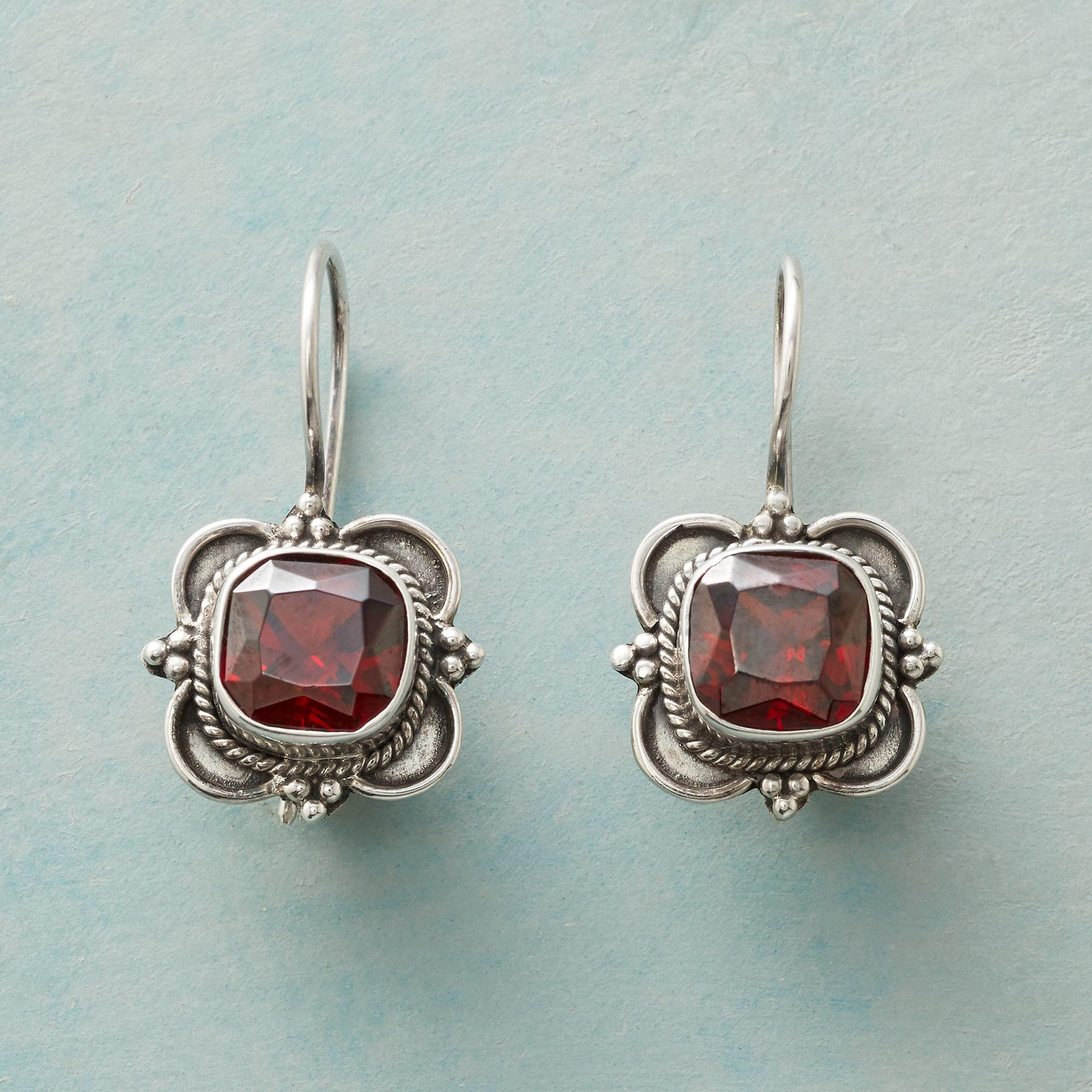 GARNET CARTOUCHE EARRINGS: View 1