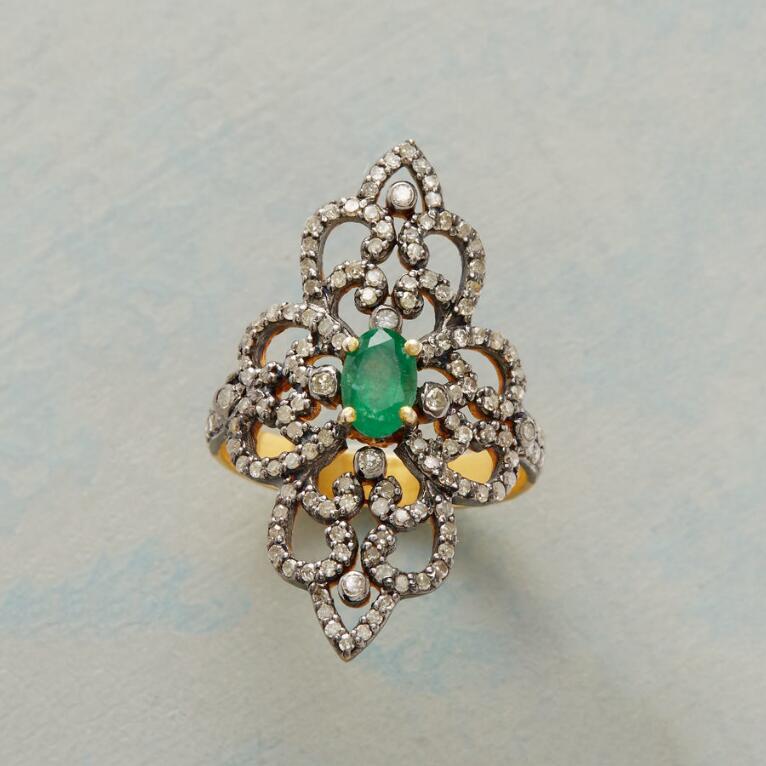 EMERALD DIAMOND RENAISSANCE RING