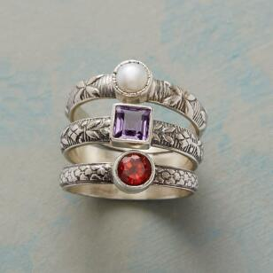 RED WHITE AND AMETHYST RING TRIO