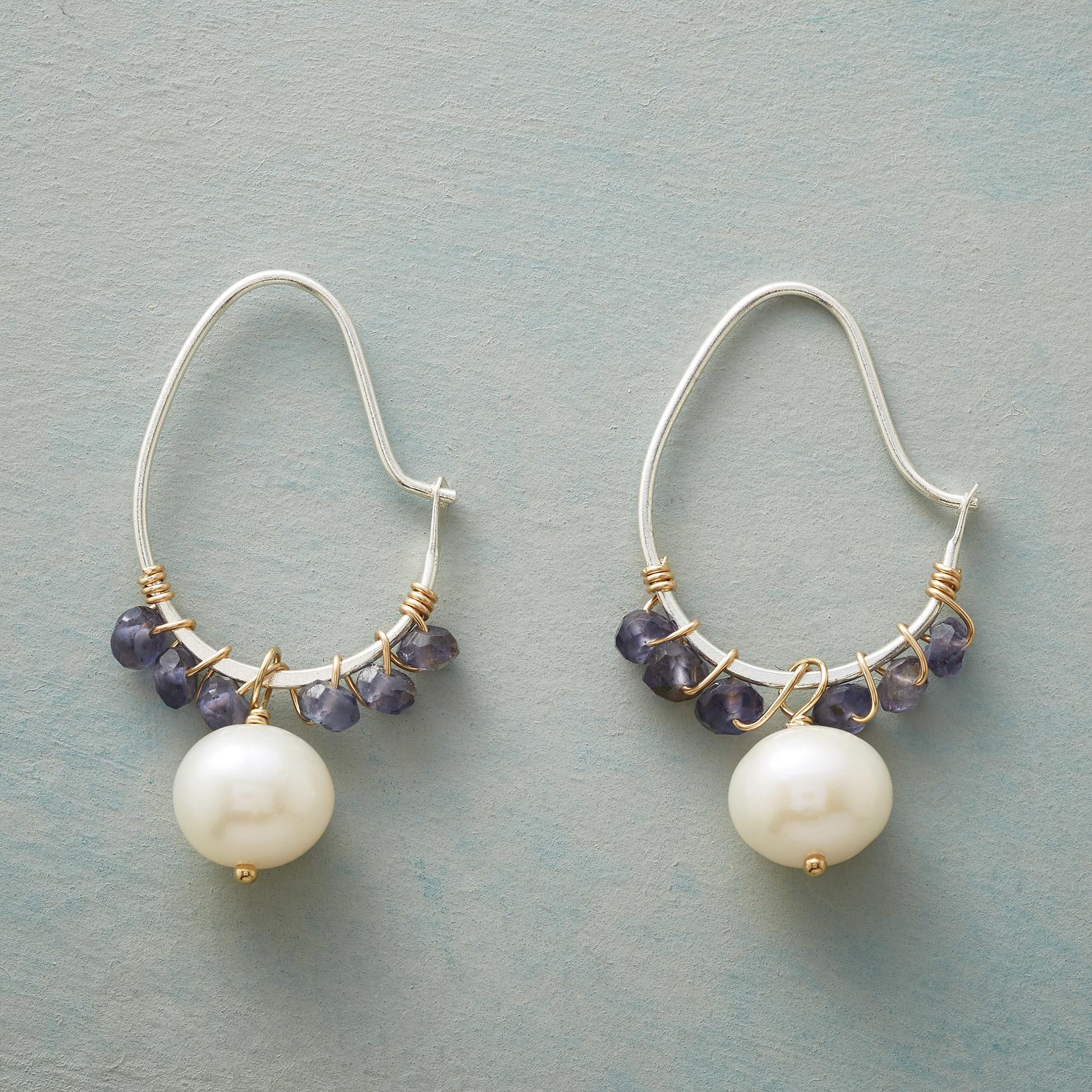 IOLITE SWOOP HOOP EARRINGS: View 1