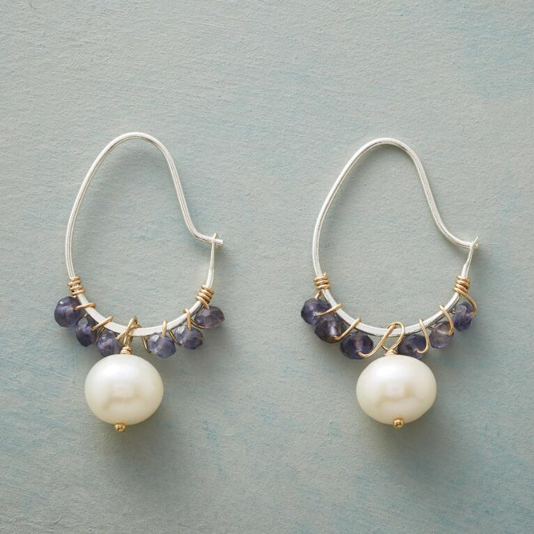IOLITE SWOOP HOOP EARRINGS