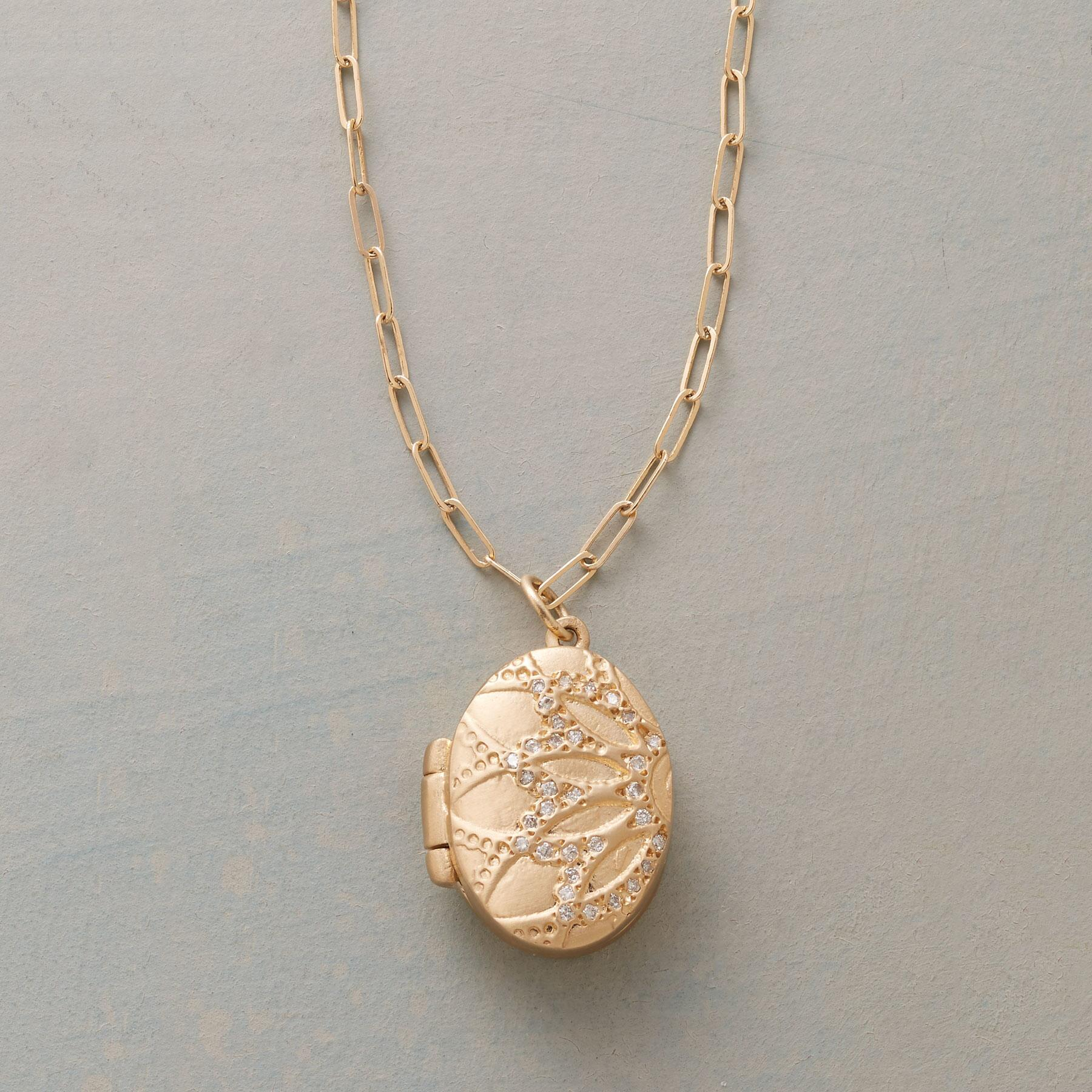 DIAMOND DUSTED LOTUS LOCKET: View 1