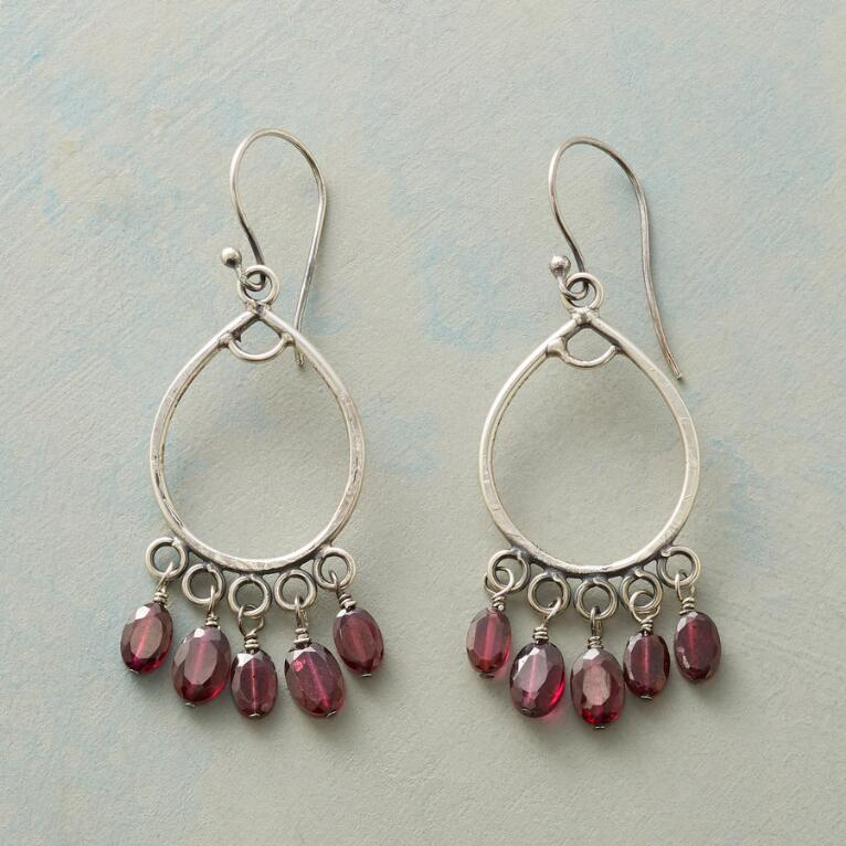FIVE GARNET EARRINGS