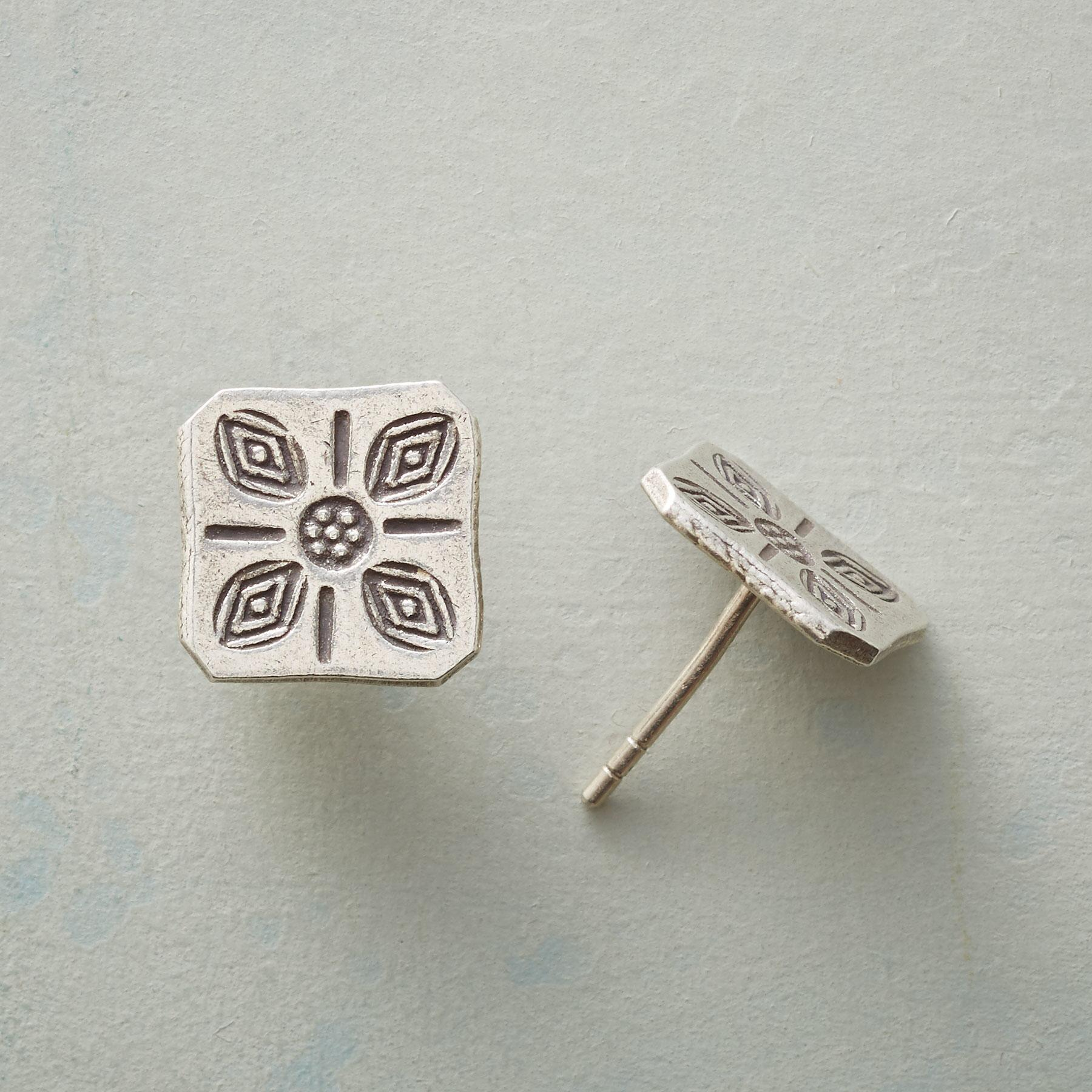 STAMPED SQUARE EARRINGS: View 1