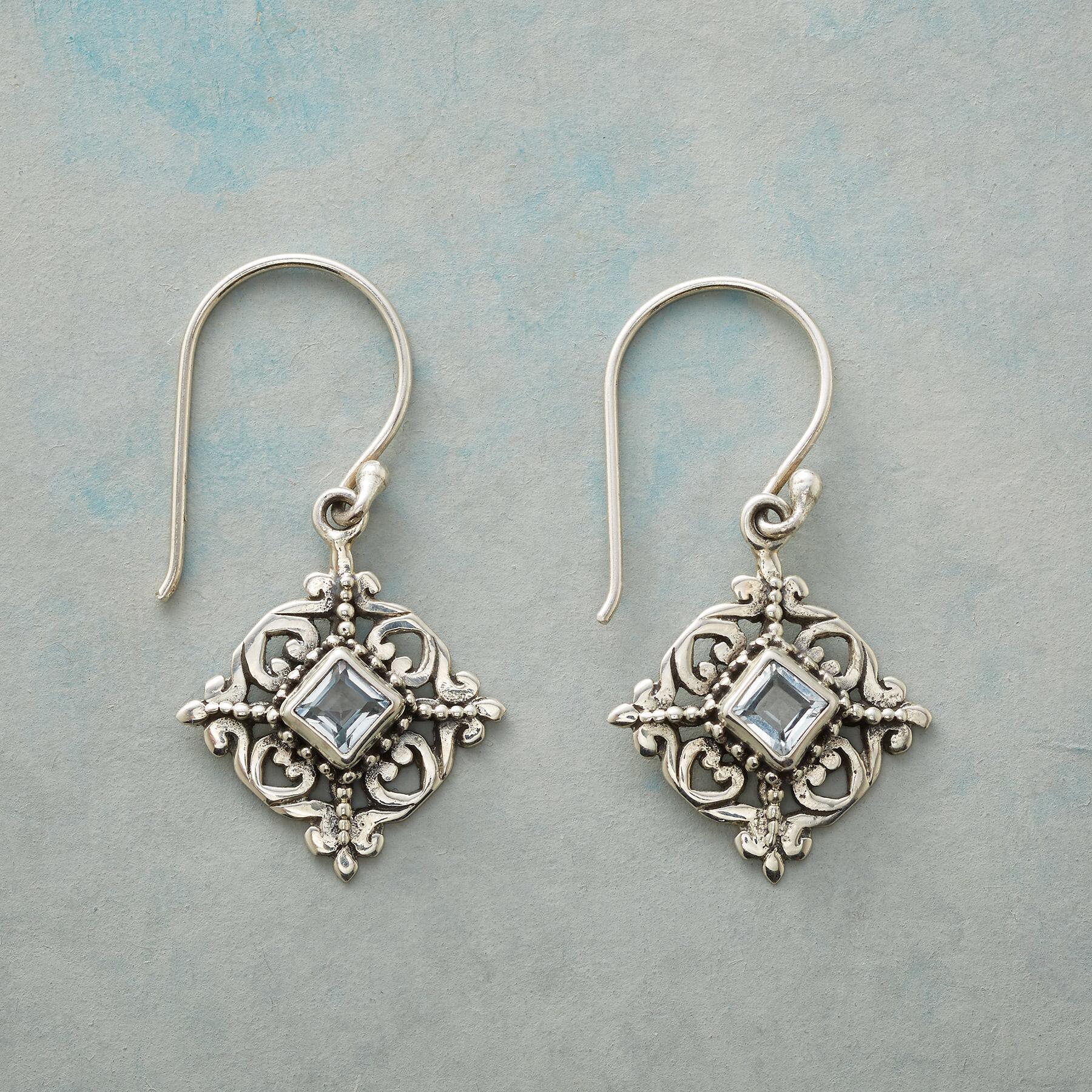 BLUE TOPAZ SNOWFLAKE EARRINGS: View 1