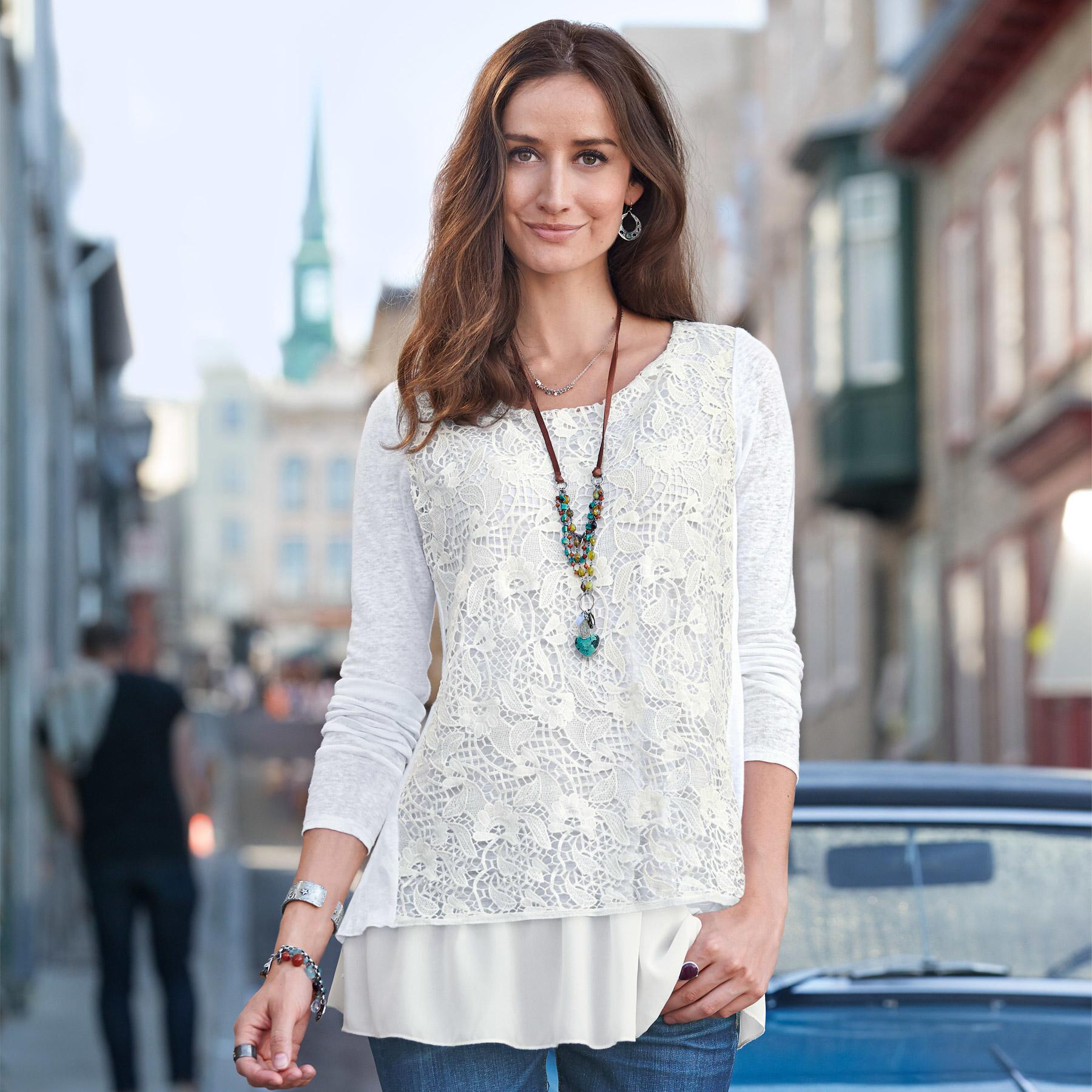 LACE OVERLAY TOP PETITE: View 1