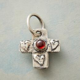 STERLING SILVER GARNET FAITH CHARM