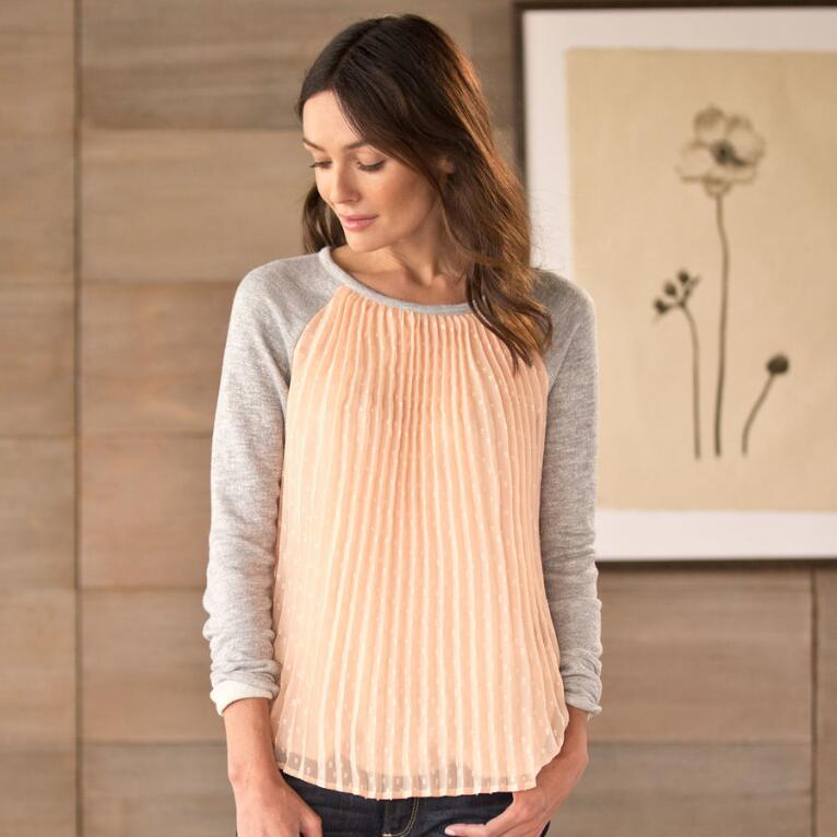 PLEATED WOVEN TOP WITH KNIT SLEEVES