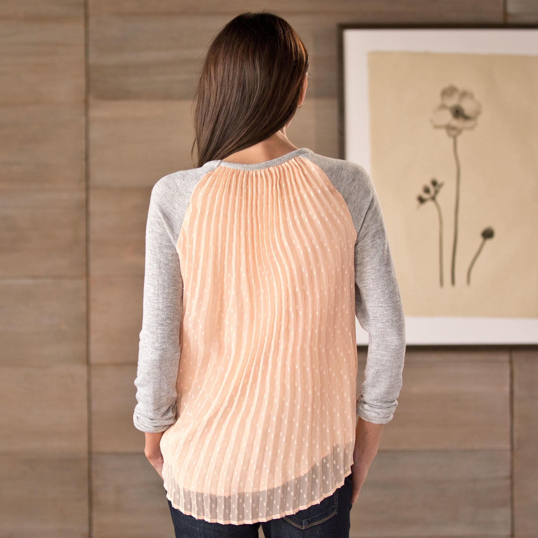 PLEATED WOVEN TOP WITH KNIT SLEEVES: View 2