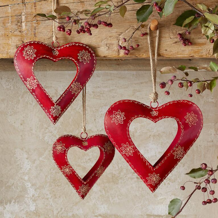 ALPENHAUS HANDPAINTED HEARTS, SET OF 3