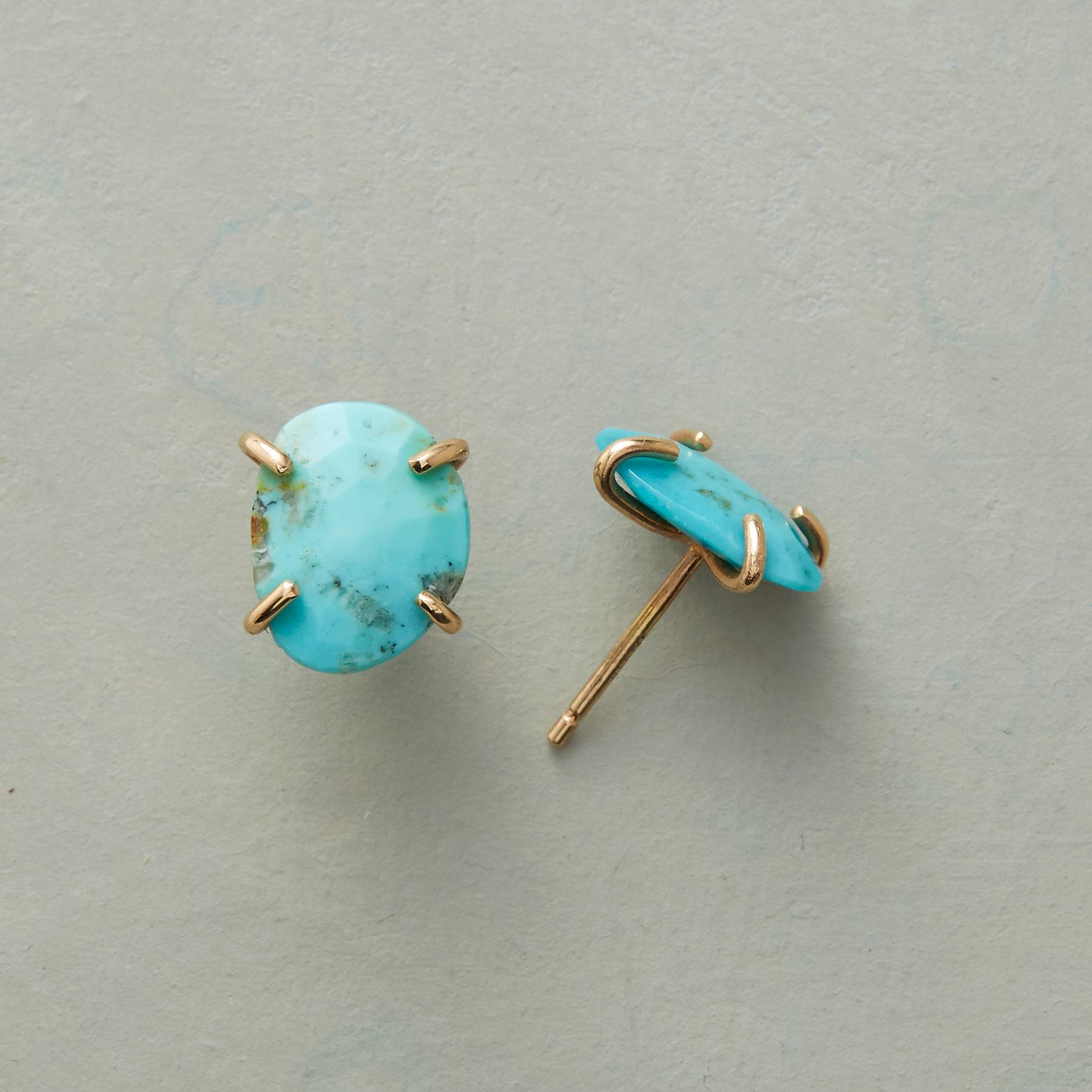 TURQUOISE NUGGET EARRINGS: View 1
