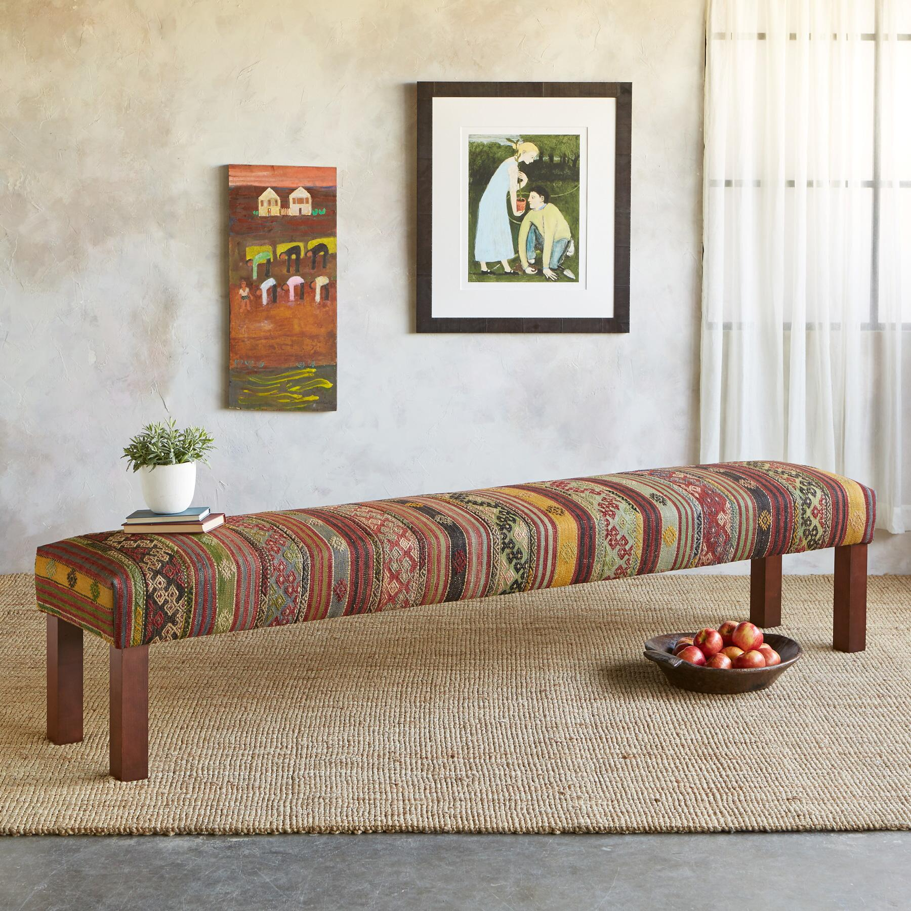 NIZIP TURKISH KILIM BENCH: View 1