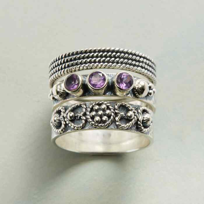 AMETHYST AMOR RINGS, SET OF 3