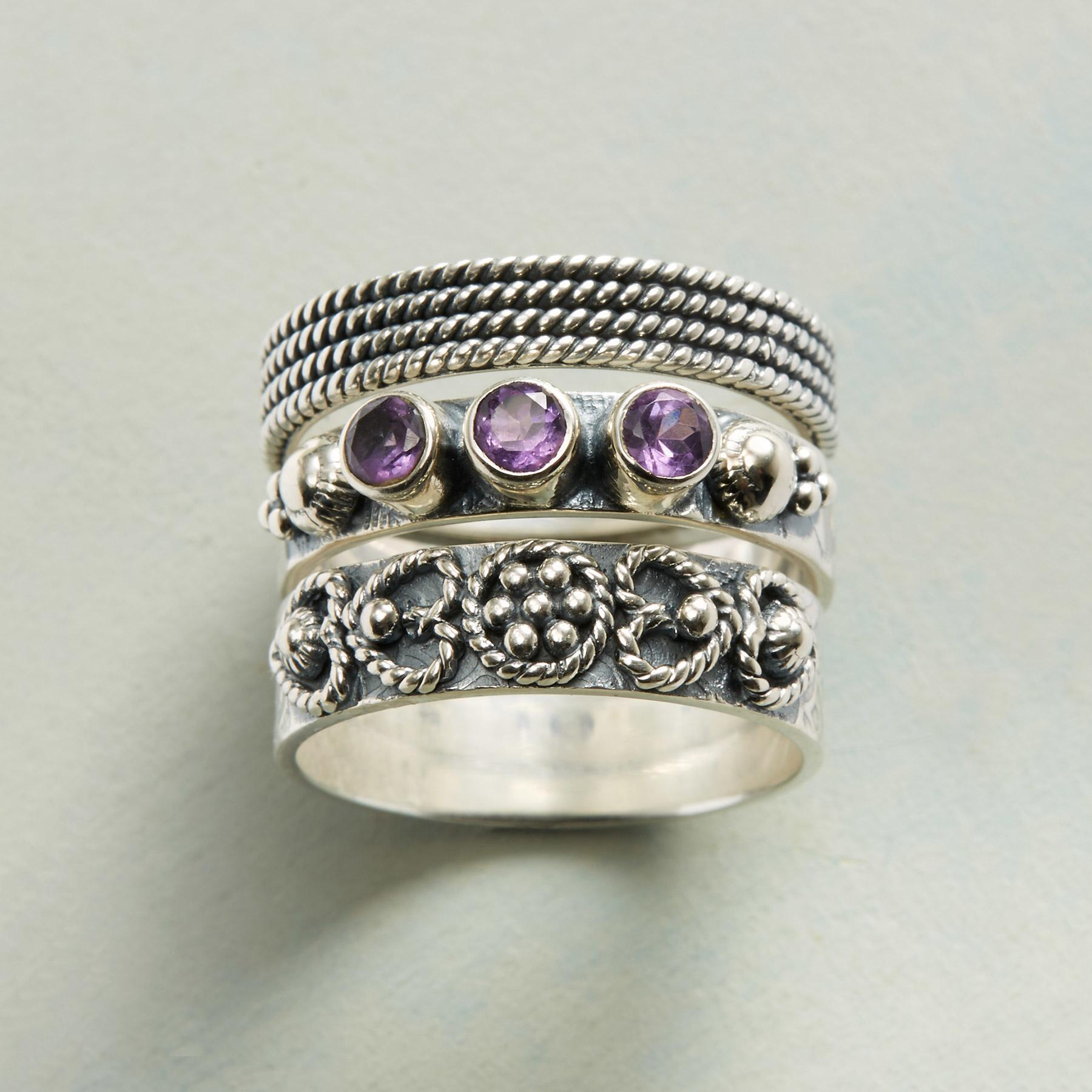 AMETHYST AMOR RINGS, SET OF 3: View 1