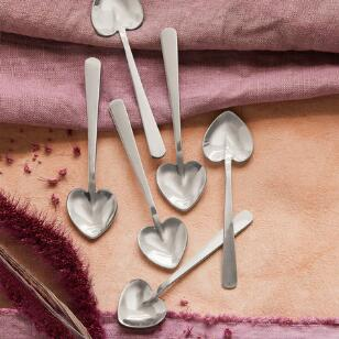 HEART-SHAPED SILVER SPOONS, SET OF 6