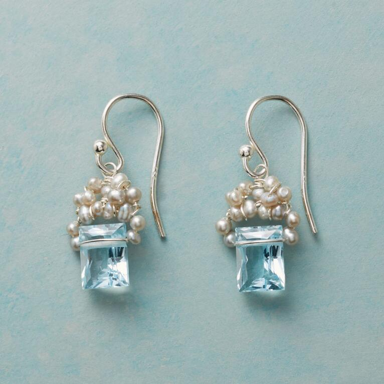 FROSTED BLUE TOPAZ EARRINGS