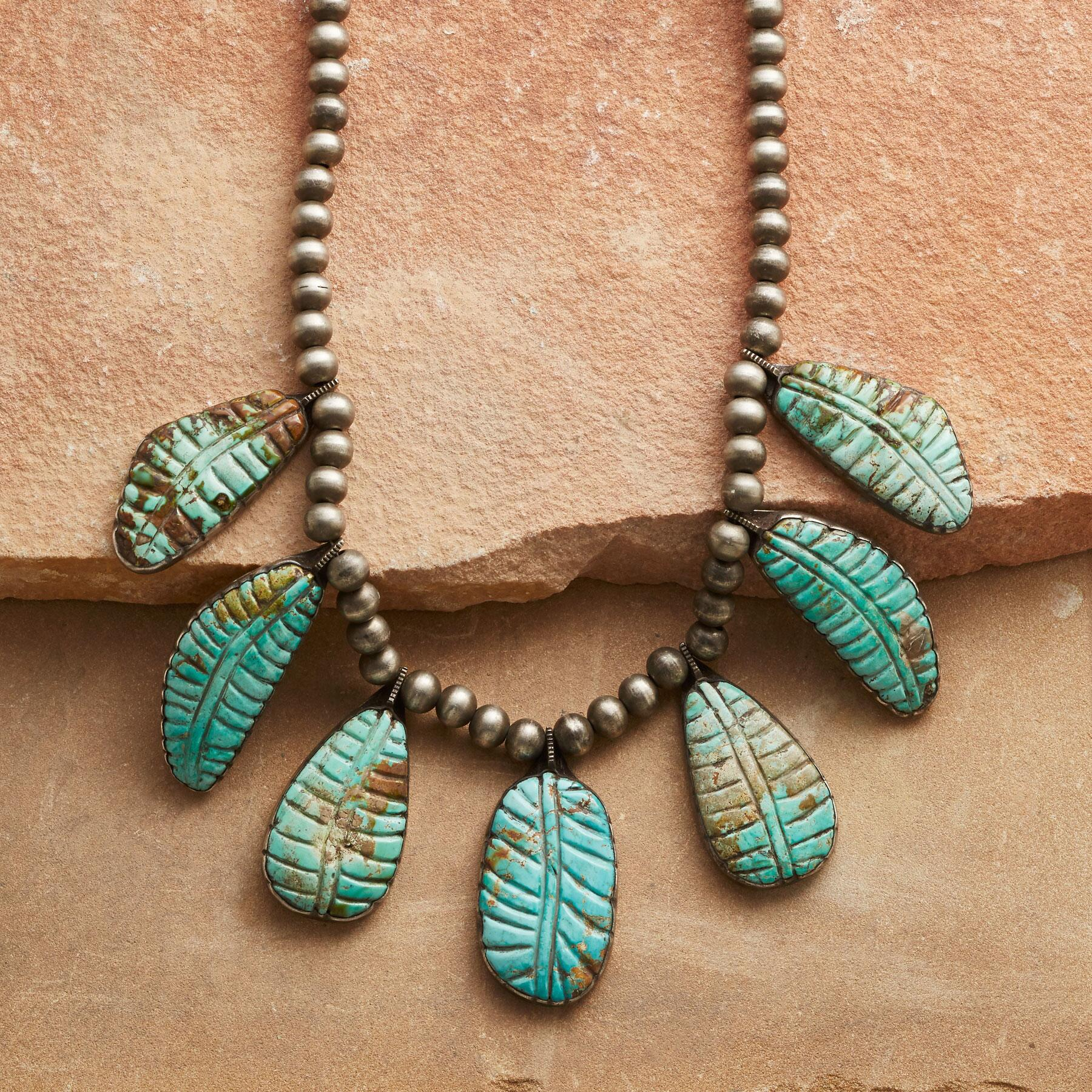 TURQUOISE LEAF NECKLACE: View 1
