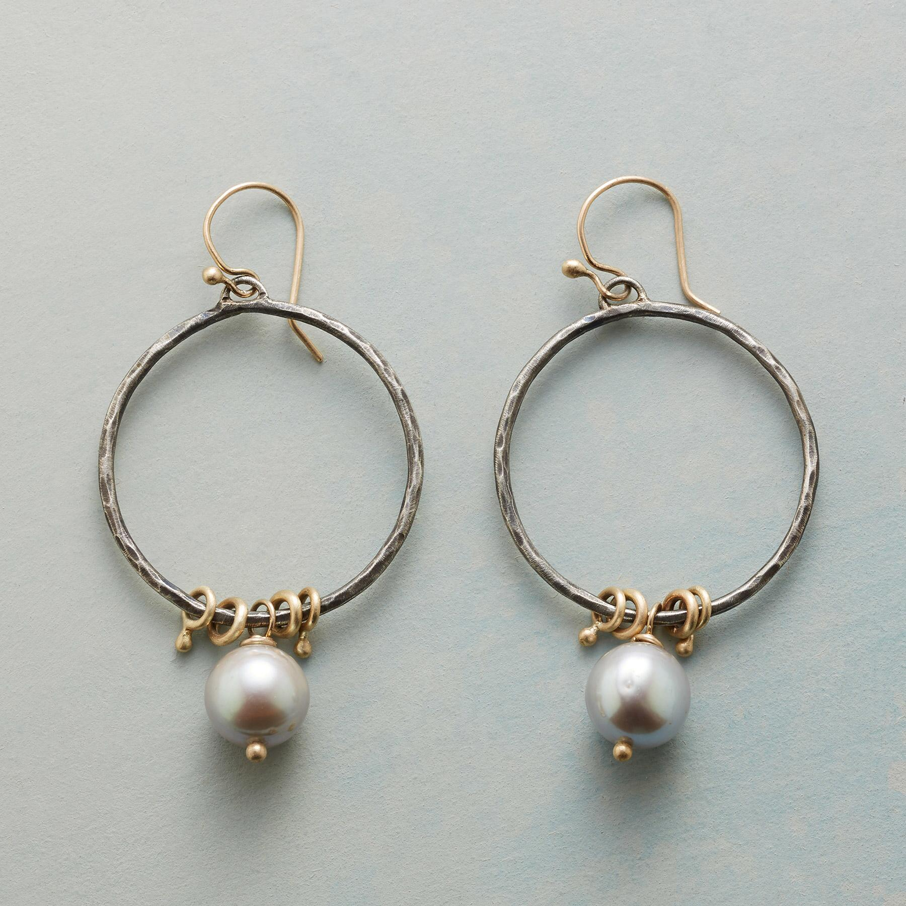 PUNCTUATED PEARL HOOP EARRINGS: View 1