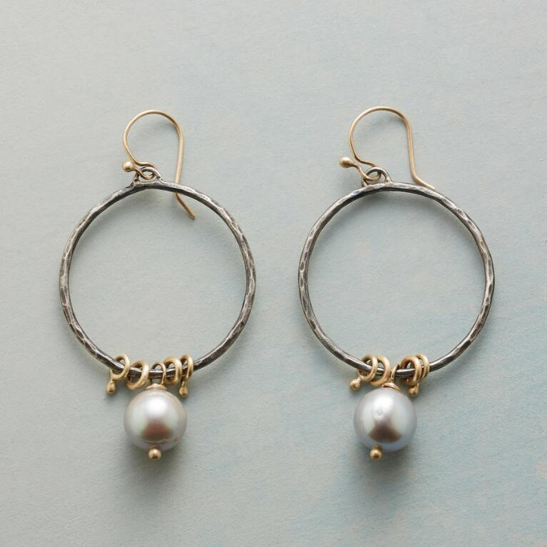PUNCTUATED PEARL HOOP EARRINGS