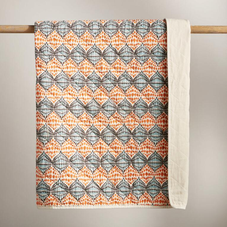 QUILTED THROW - RAINDROP