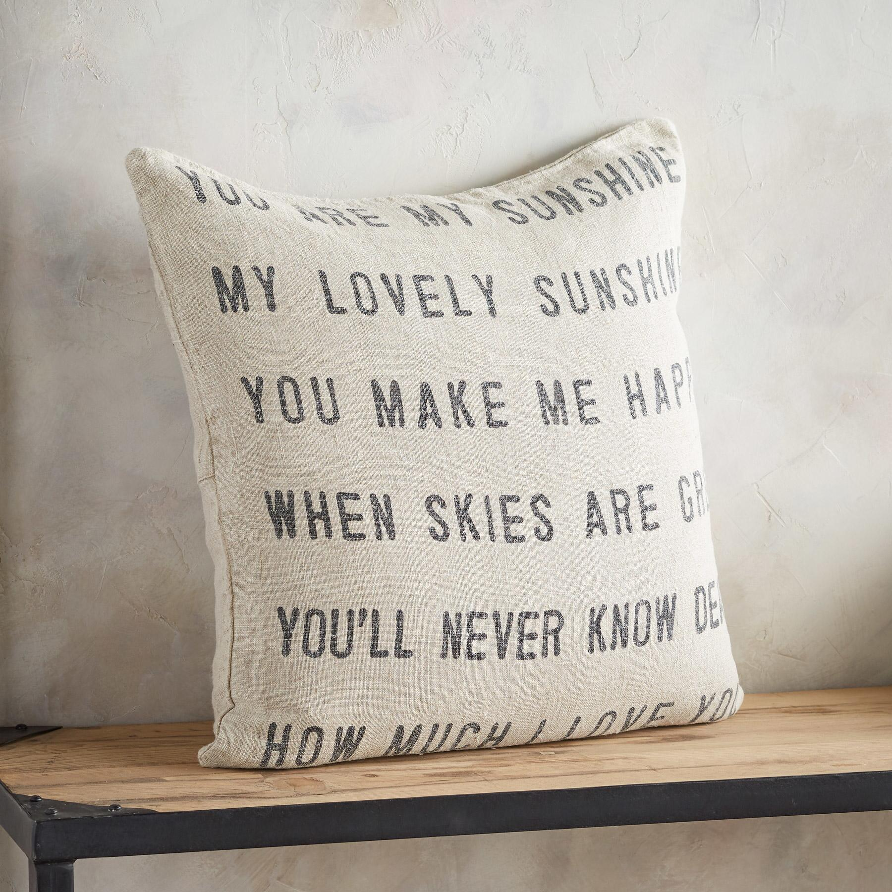 YOU ARE MY SUNSHINE LINEN PILLOW: View 1