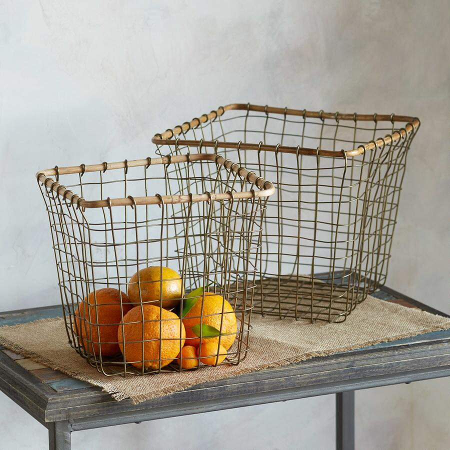 BAMBOO & WIRE BASKETS S/2
