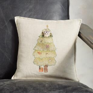 CHRISTMAS TREE OWL LINEN POCKET PILLOW