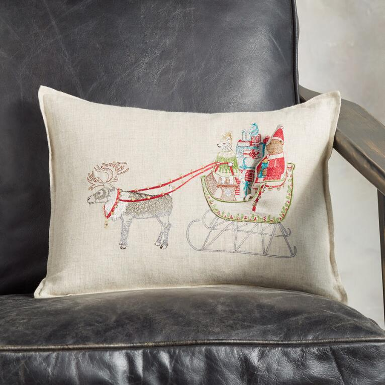 SANTA BEAR SLEIGH POCKET PILLOW