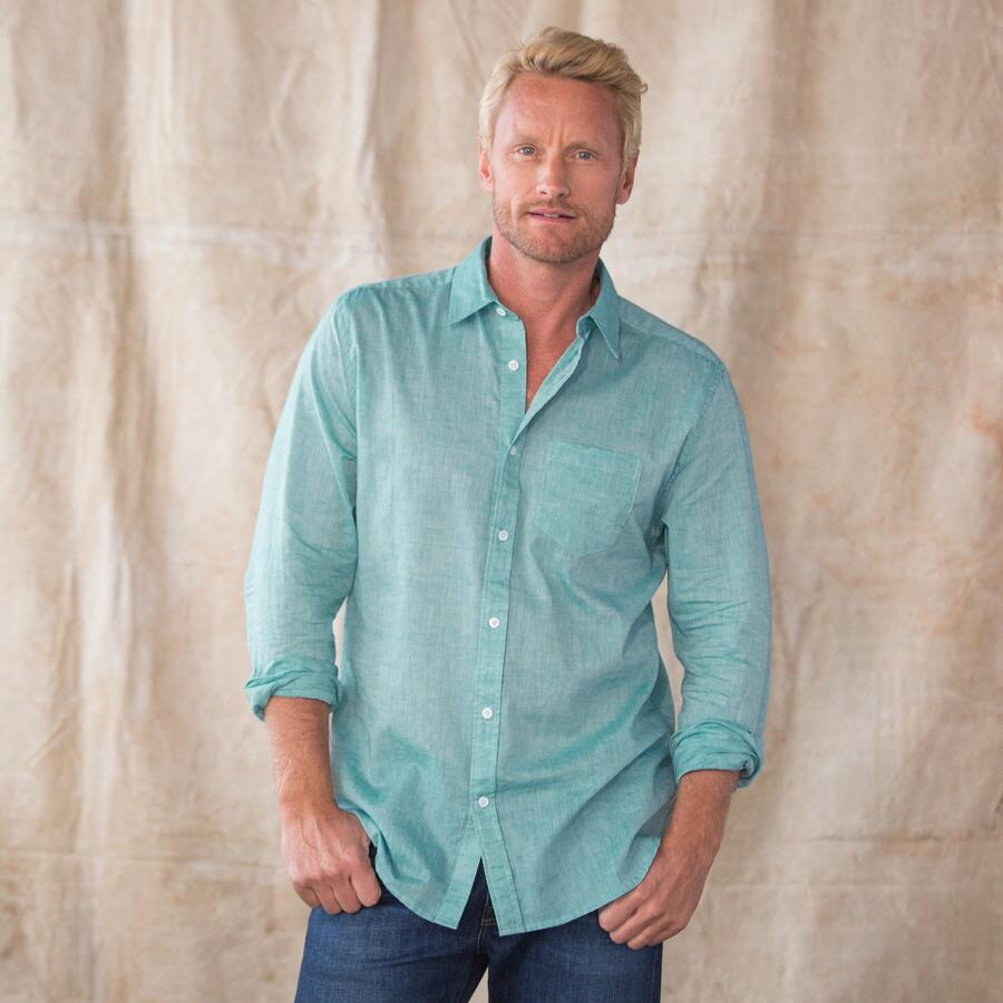 ALL BUTTONED UP TEAL SHIRT