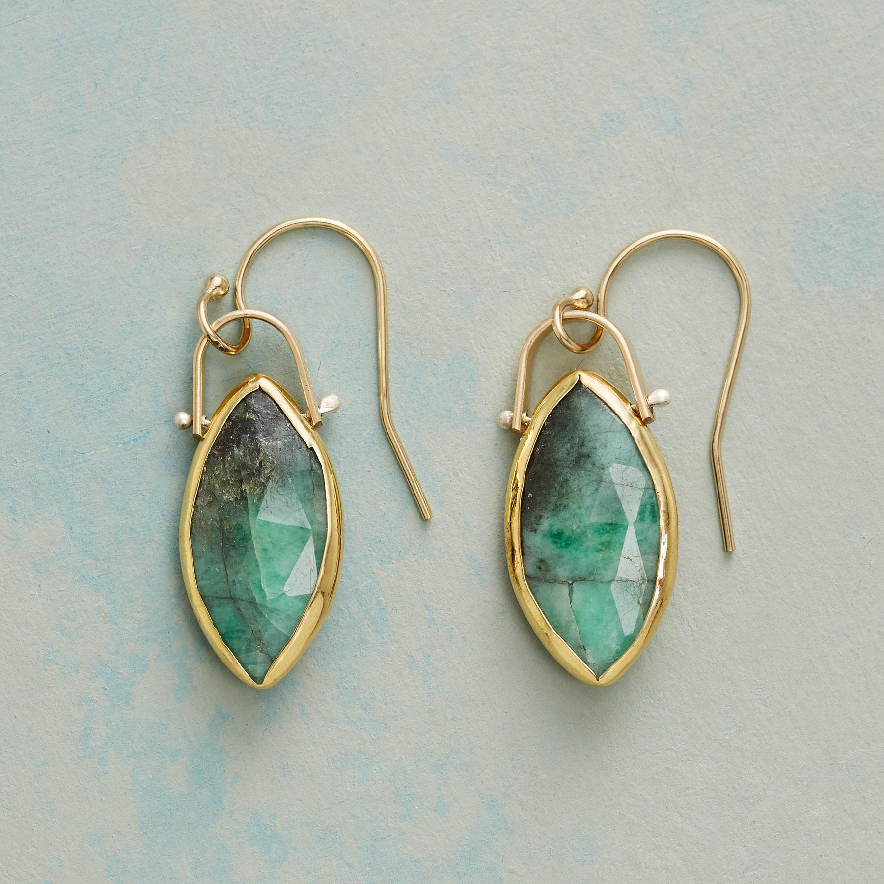 EMERALD MARQUISE EARRINGS: View 1