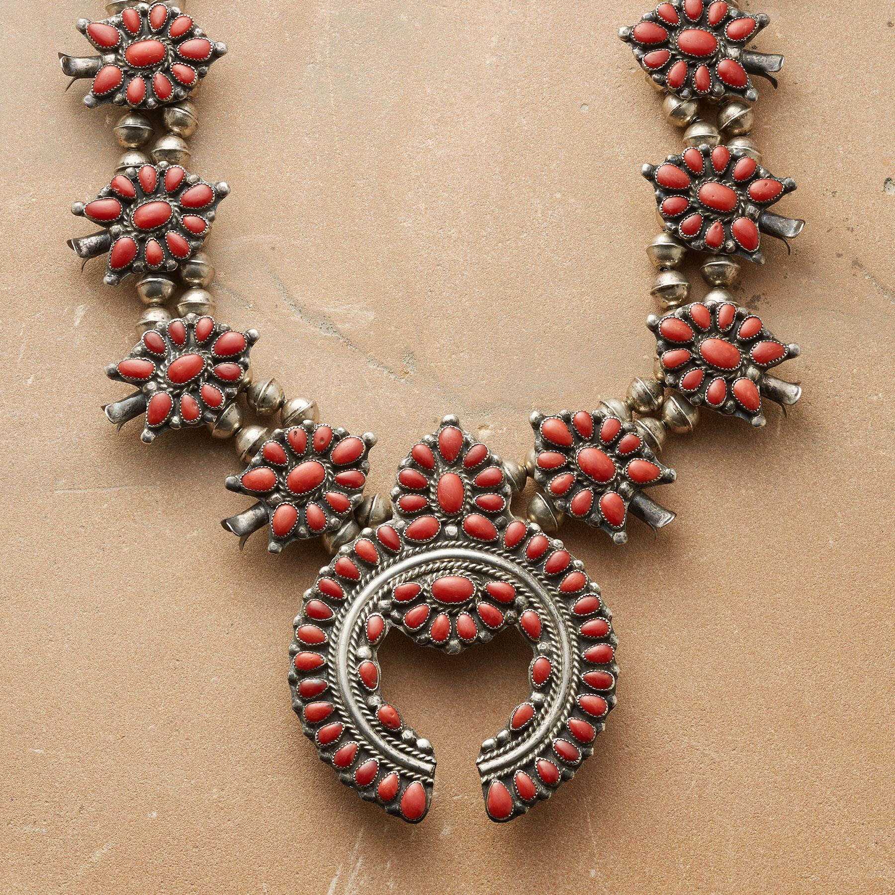 1950'S RED CORAL SQUASH BLOSSOM NECKLACE: View 1