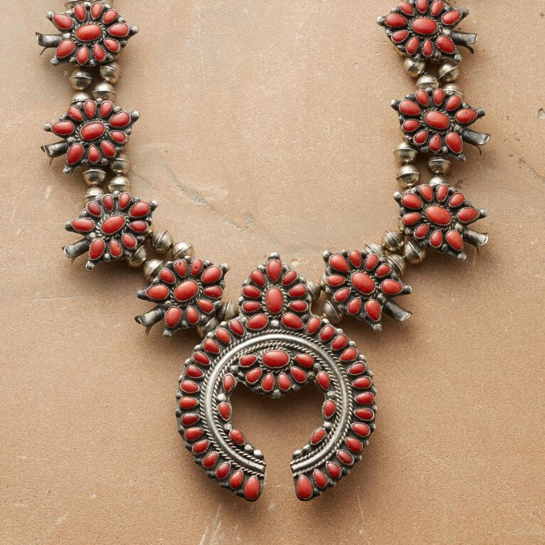 1950'S RED CORAL SQUASH BLOSSOM NECKLACE