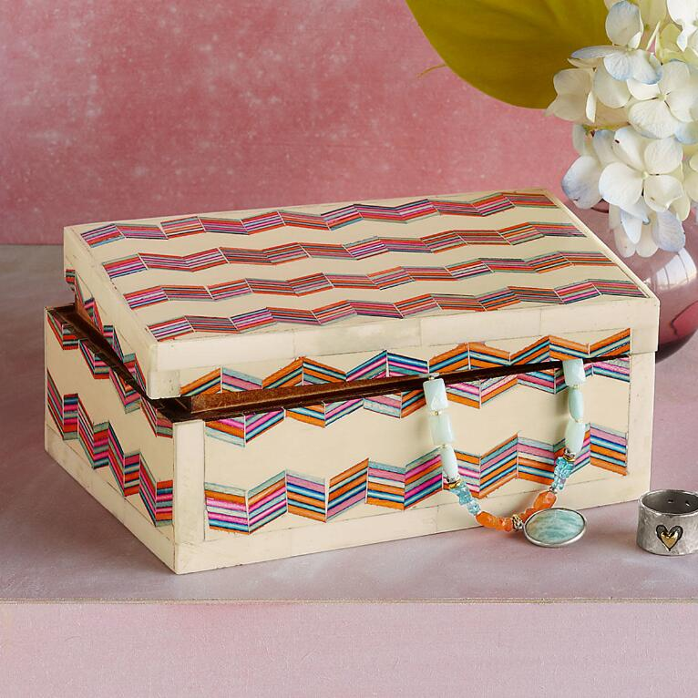 RAINBOW CHEVRON TREASURE BOX