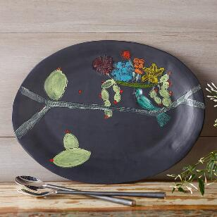SUNDANCE CERAMICS BIRD & CACTUS SERVING PLATTER