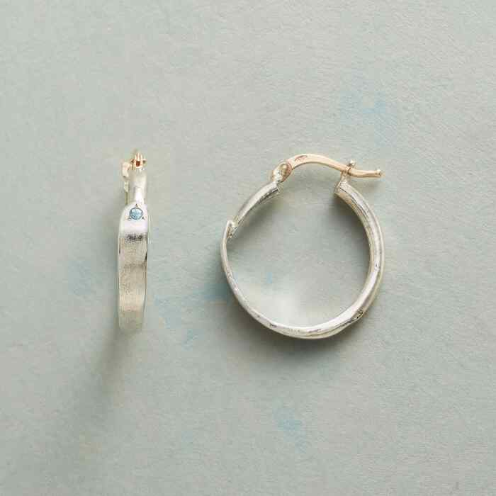 BLUE TOPAZ OVERLAP HOOP EARRINGS