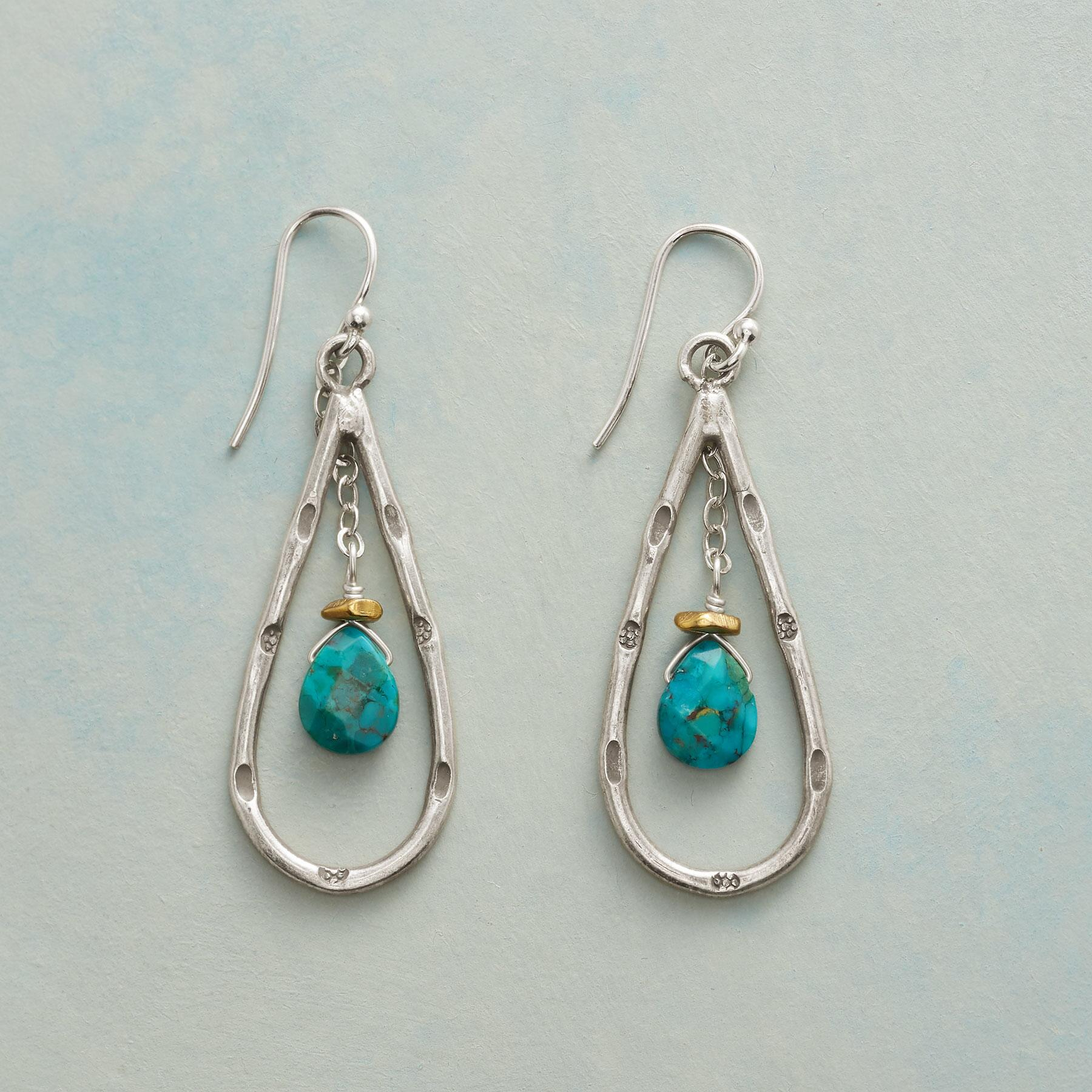 TURQUOISE CRADLE EARRINGS: View 1