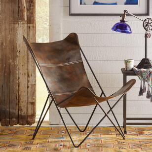 GUTHRIE LEATHER BUTTERFLY CHAIR