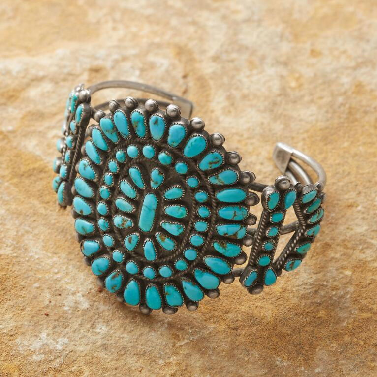 1950S MORENCI TURQUOISE CLUSTER CUFF