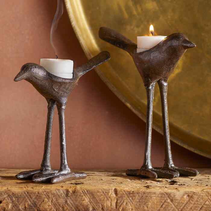 IRON BIRD CANDLEHOLDERS, SET OF 2